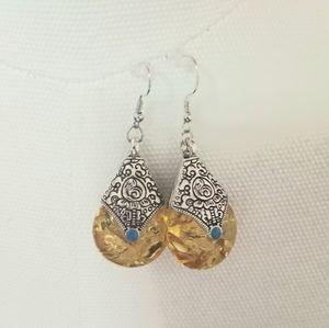 Yellow Boho drop dangling vintage like earrings